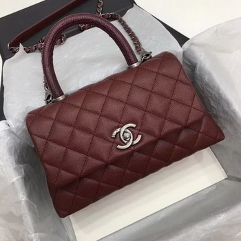 Chanel Classic Top Handle Bag Wine Cannage Pattern A92290 Silver