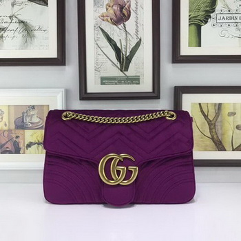 Gucci GG Marmont Embroidered Velvet Bag 443496 Purple