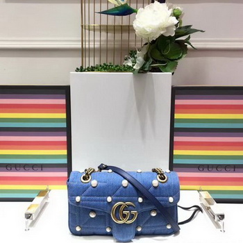 Gucci GG Marmont Small Chevron Shoulder Bag 443497 Blue