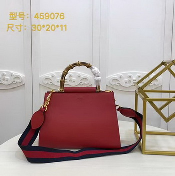 Gucci Nymphaea Leather Top Handle Bag 459076 Red