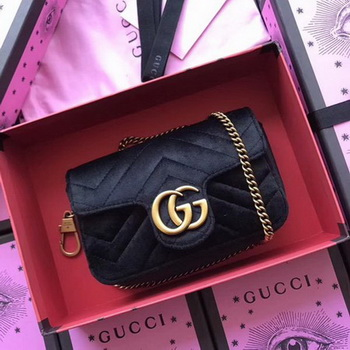 Gucci GG Marmont Velvet Super Mini Bag 476433 Black