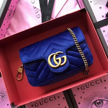 Gucci GG Marmont Velvet Super Mini Bag 476433 Blue
