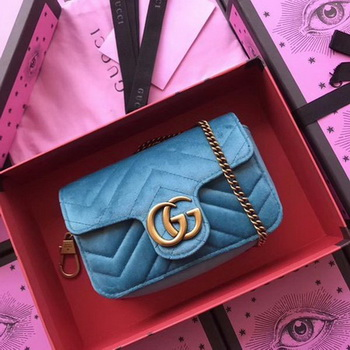 Gucci GG Marmont Velvet Super Mini Bag 476433 SkyBlue