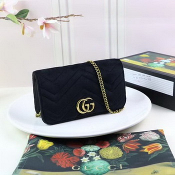 Gucci GG Marmont Embroidered Velvet Mini Bag 488426 Black