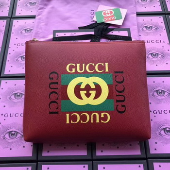 Gucci Print Leather Medium Portfolio ‎500981 Red