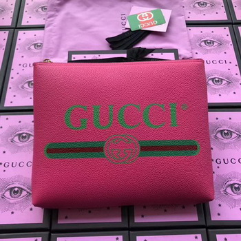 Gucci Print Leather Medium Portfolio ‎500981 Rose