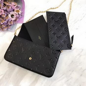 Louis Vuitton Monogram Empreinte POCHETTE FeLICIE M64064 Black
