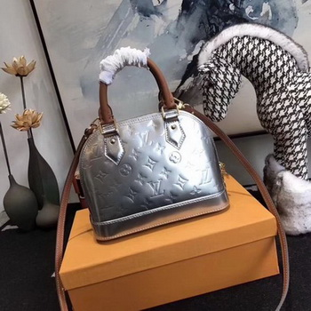 Louis Vuitton Monogram Vernis Alma BB Tote Bag M91606 Silver