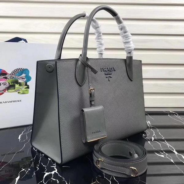 Prada Bibliotheque Handbag in Calf Leather 1BA155 Grey