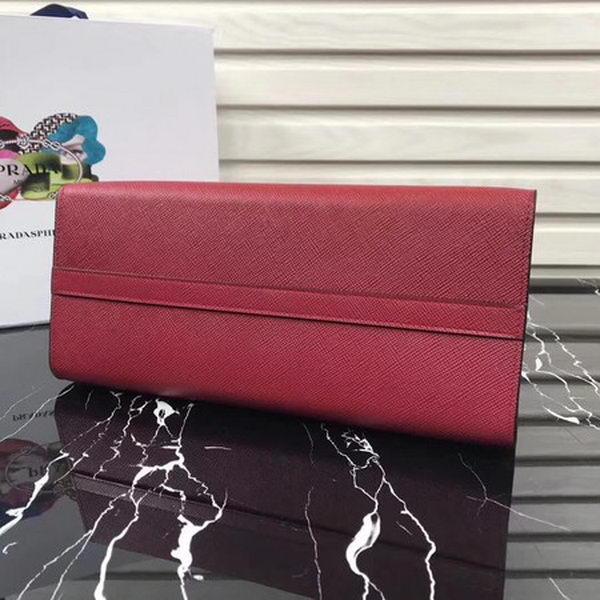 Prada Bibliotheque Handbag in Calf Leather 1BA155 Red