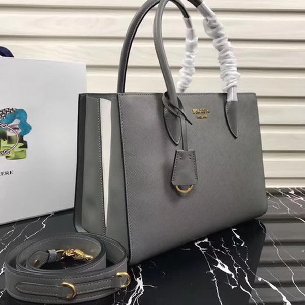 Prada Bibliotheque Medium Saffiano Top-Handle Tote Bag 1BG088 Grey