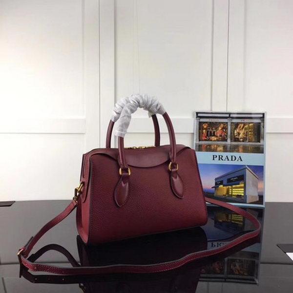 Prada Calfskin Leather Tote Bag 1BH093 Wine