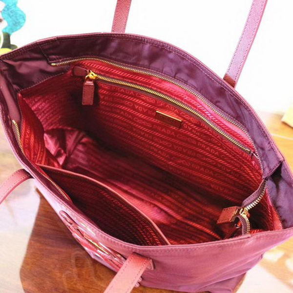 Prada Nylon Tote Bag 1BG052 Wine