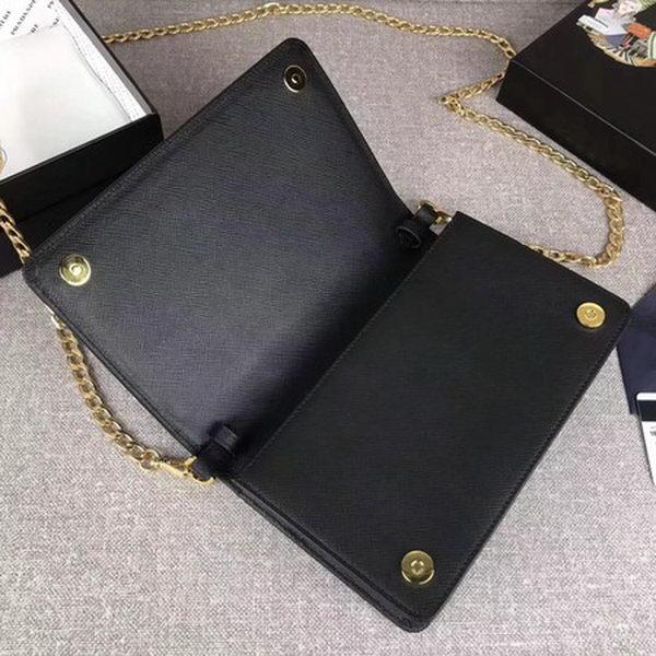 Prada Saffiano Logo Fold Over Shoulder Bag 1BP012 Black