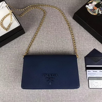 Prada Saffiano Logo Fold Over Shoulder Bag 1BP012 Blue
