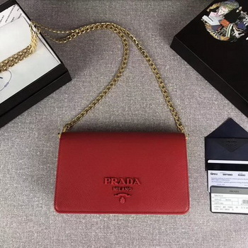 Prada Saffiano Logo Fold Over Shoulder Bag 1BP012 Red