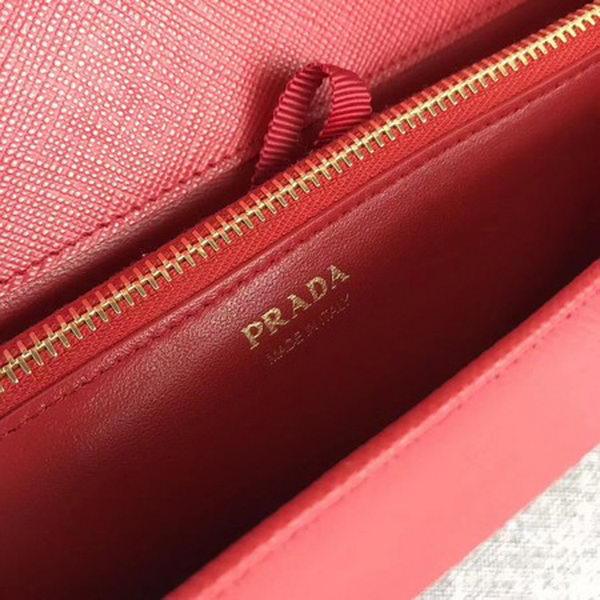 Prada Saffiano Logo Fold Over Shoulder Bag 1BP012 Red