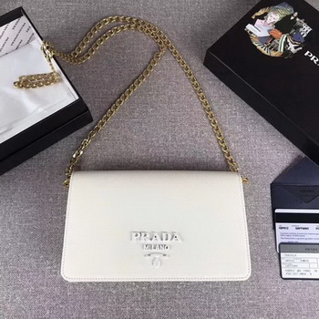 Prada Saffiano Logo Fold Over Shoulder Bag 1BP012 White