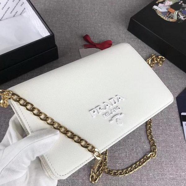 Prada Saffiano Logo Fold Over Shoulder Bag 1BP012 White