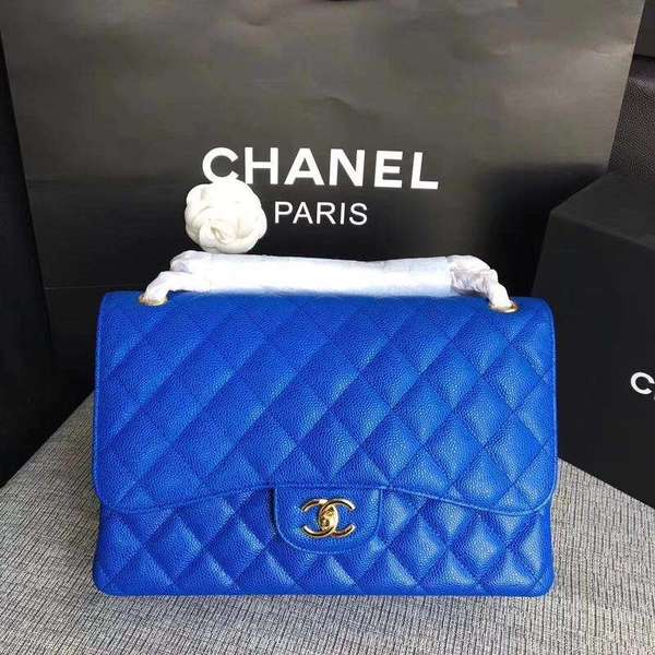 Chanel Flap Shoulder Bags Blue Original Calfskin Leather CF1113 Gold