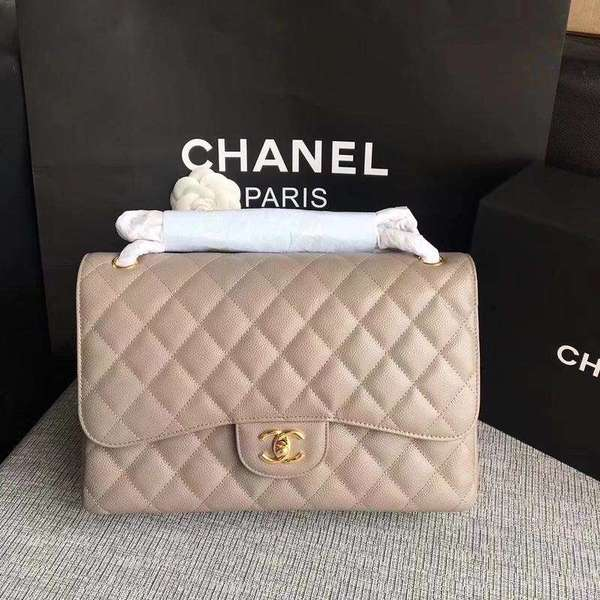 Chanel Flap Shoulder Bags Grey Original Calfskin Leather CF1113 Gold