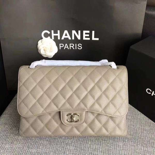 Chanel Flap Shoulder Bags Grey Original Calfskin Leather CF1113 Silver