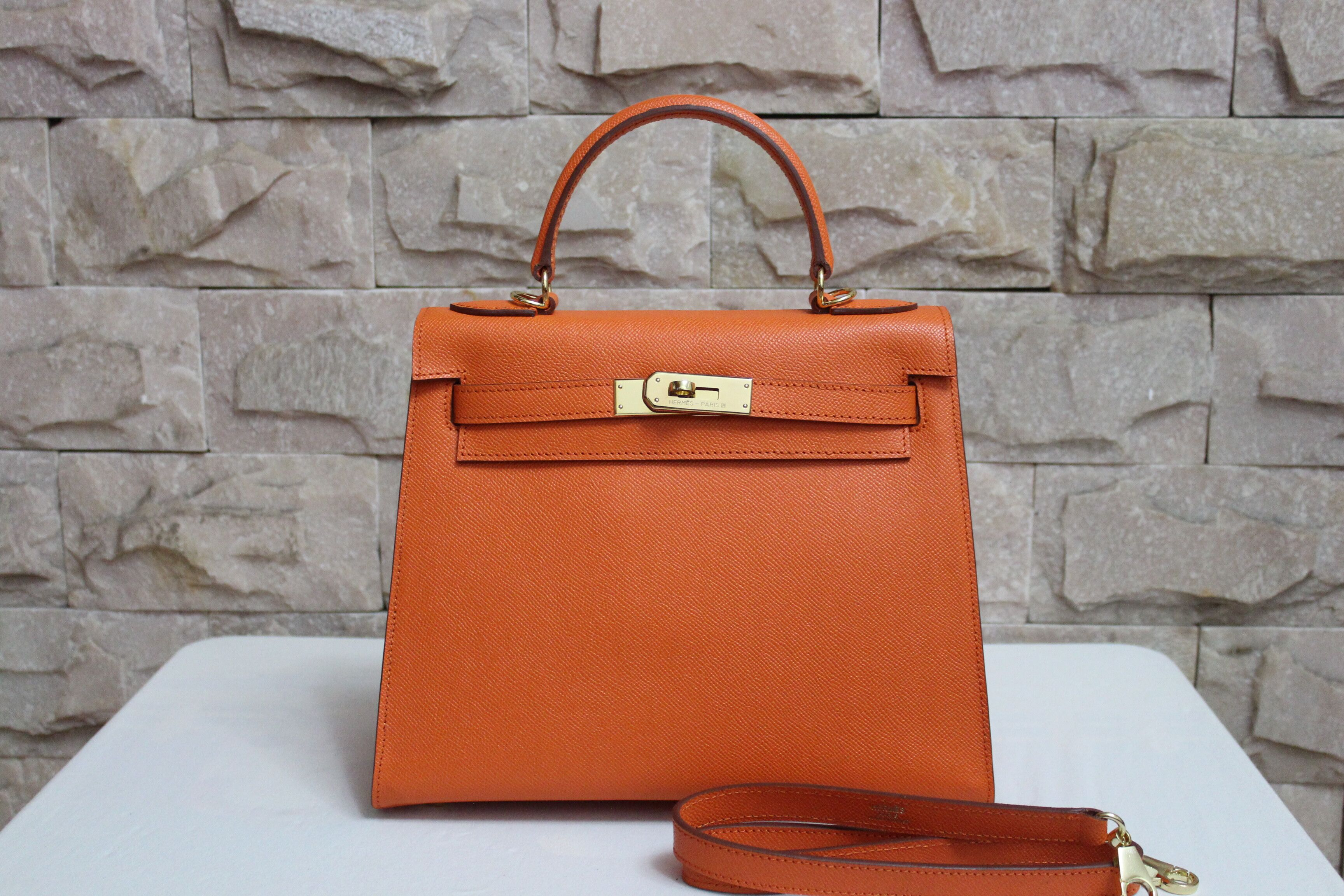 Hermes Kelly 28cm Shoulder Bags espom leather orange