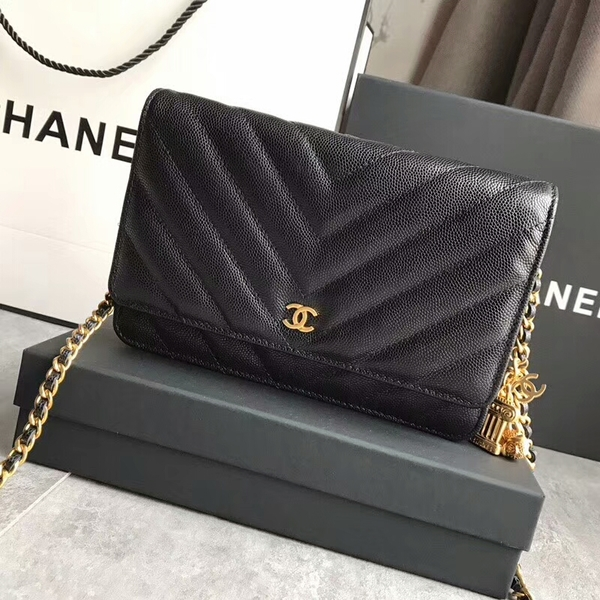 Chanel Owl Pendant Flap Shoulder Bag Calfskin Leather A33814 Black