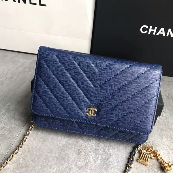 Chanel Owl Pendant Flap Shoulder Bag Calfskin Leather A33814 Blue