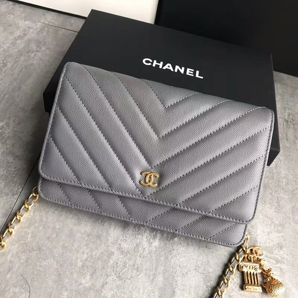 Chanel Owl Pendant Flap Shoulder Bag Calfskin Leather A33814 Grey