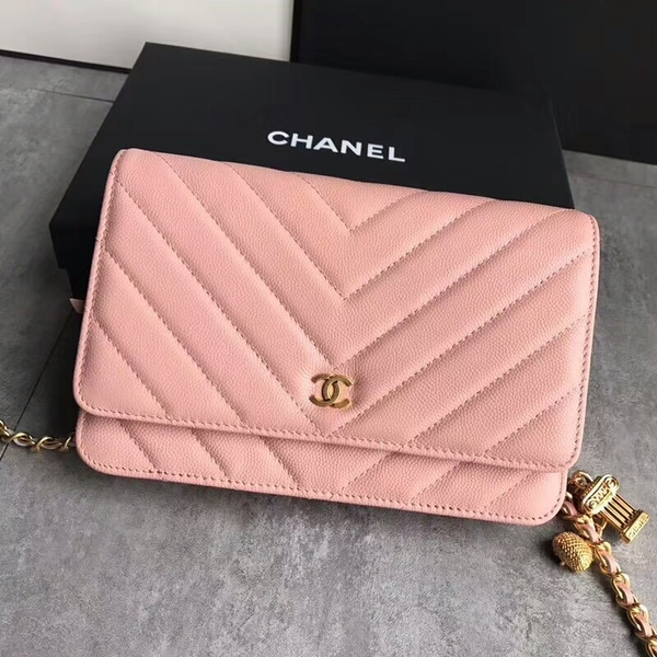 Chanel Owl Pendant Flap Shoulder Bag Calfskin Leather A33814 Peach