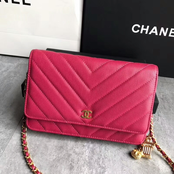 Chanel Owl Pendant Flap Shoulder Bag Calfskin Leather A33814 Pink