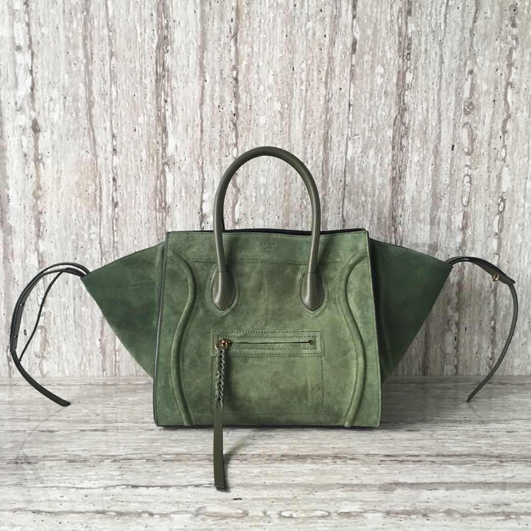Celine Luggage Phantom Tote Bag Suede Leather CT3372 Dark Green