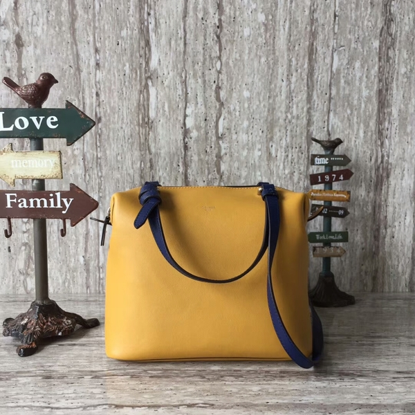 Celine Sheepskin  Leather Shoulder Bag 90059 Yellow