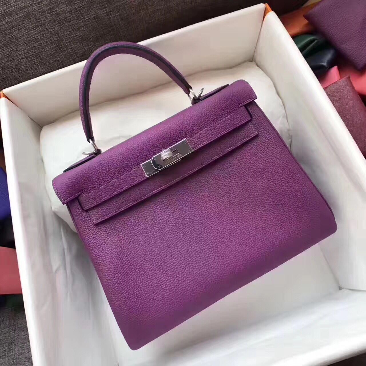 Hermes Kelly 32cm/28cm Shoulder Bag TOGO Leather KY28 Purple