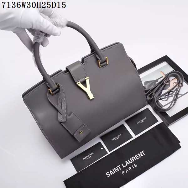 Saint Laurent Small Classic Monogramme Leather Flap Bag Y7136 Grey