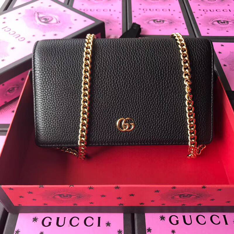 Gucci GG Marmont Original Calf leather Shoulder Bag 497985 black