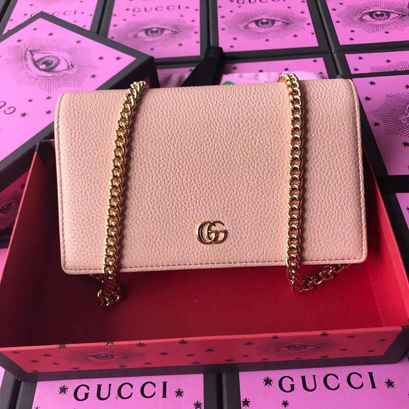 Gucci GG Marmont Original Calf leather Shoulder Bag 497985 Nude