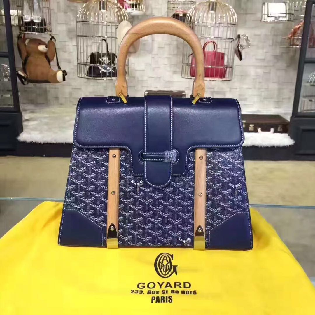 Goyard Y Doodling Calfskin Leather Tote Bag 9956 blue