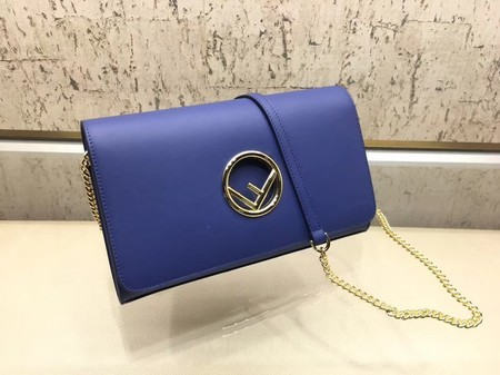 Fendi Calfskin Leather Flap Shoulder Bag 3326 Blue