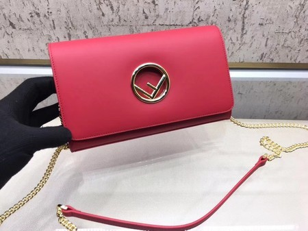 Fendi Calfskin Leather Flap Shoulder Bag 3326 Red