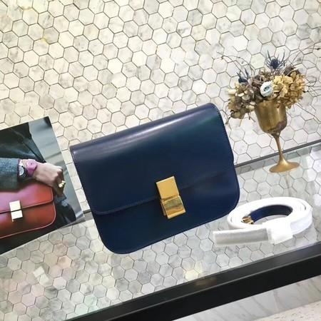 Celine Classic Box Flap Bag Original Calfskin Leather 5698 Dark Blue