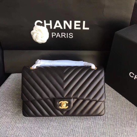 Chanel Flap Shoulder Bag Black Original Sheepskin Leather CF1112V Gold