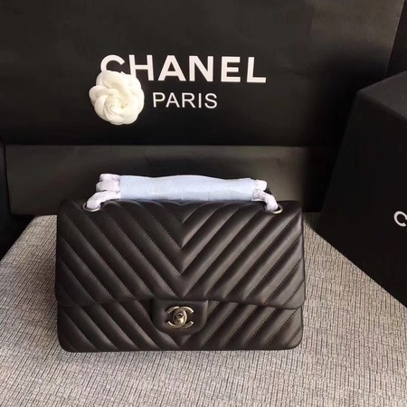 Chanel Flap Shoulder Bag Black Original Sheepskin Leather CF1112V Silver