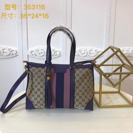 Gucci GG Supreme Canvas Tote Bag 353116 Purple