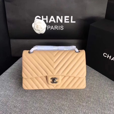 Chanel Flap Shoulder Bag Apricot Original Sheepskin Leather CF1112V Silver