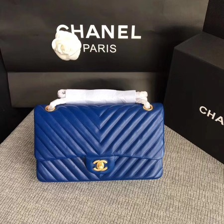 Chanel Flap Shoulder Bag Blue Original Sheepskin Leather CF1112V Gold