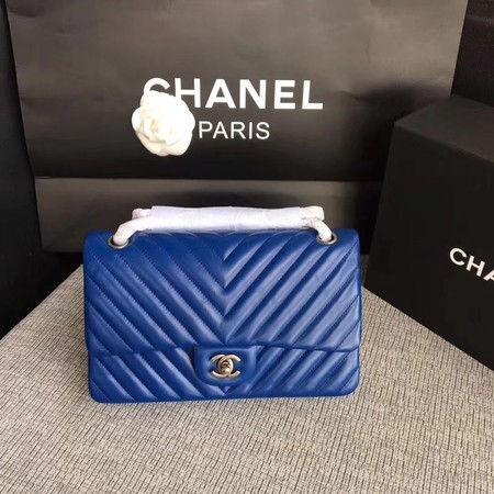 Chanel Flap Shoulder Bag Blue Original Sheepskin Leather CF1112V Silver