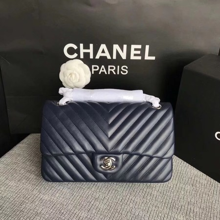 Chanel Flap Shoulder Bag Dark Blue Original Sheepskin Leather CF1112V Silver