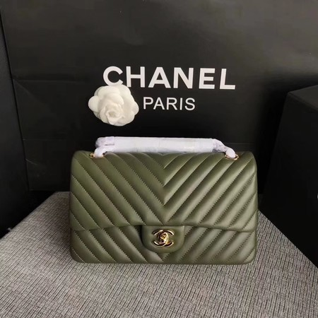 Chanel Flap Shoulder Bag Green Original Sheepskin Leather CF1112V Gold